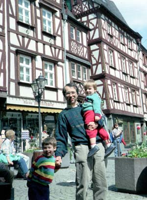 Phil and the boys in a street of historic houses in Bernkastel, Germany