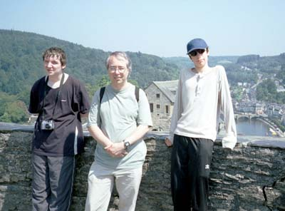 Adrian, Phil and Martin on the tower of the castle at Bouillon