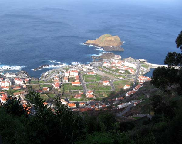 View of Porto Moniz, Madeira, from high up above the town