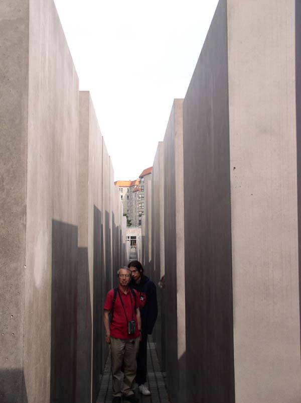 A view between the taller steles at the Holocaust memorial