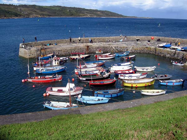Small boats in harbour at Coverack, Cornwall