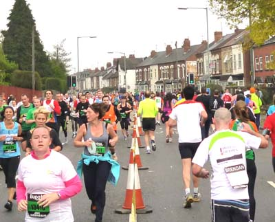 Runners head in both directions along Pershore Road