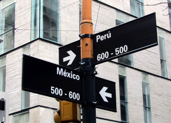 Street sign with road names Peru and Mexico