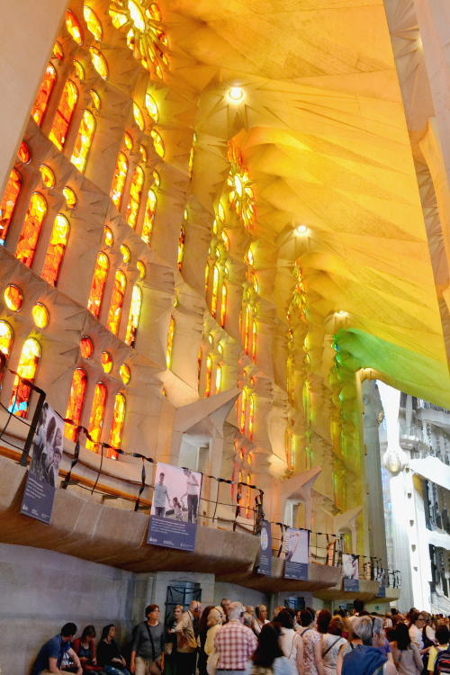 Colours illuminating the side aisle of the Sagrada Família