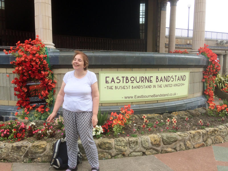 Miriam in front of Eastbourne Bandstand