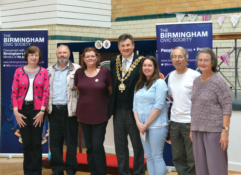 A group of volunteers with the Lord Mayor of Birmingham at Stirchley Baths