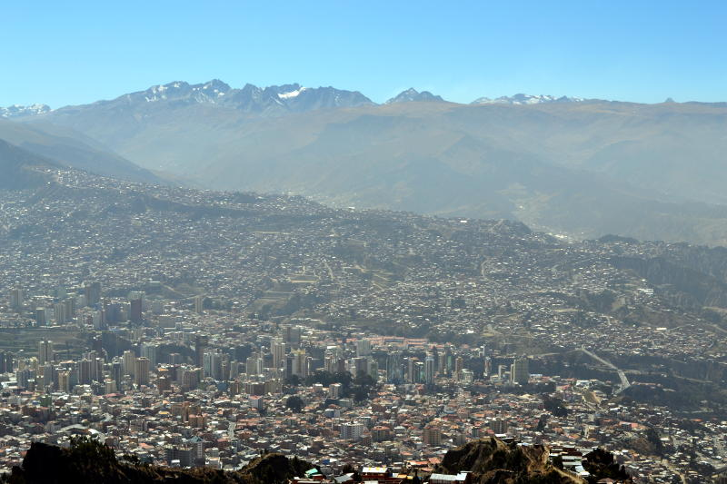 Looking down on the city of La Paz, surrounded by mountains