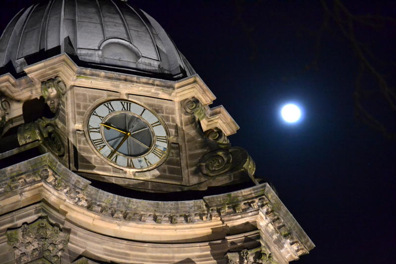 Birmingham Cathedral clock and the full moon
