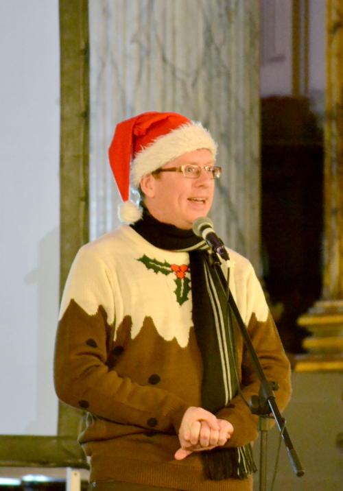 Paul Kerensa wearing a Santa hat