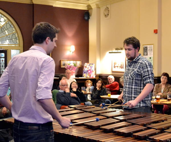 Ross and James playing the marimba