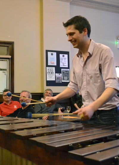 Ross playing the marimba