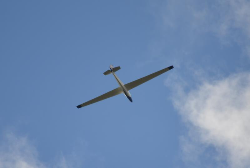 Glider in the clouds at Yorkshire Gliding Club