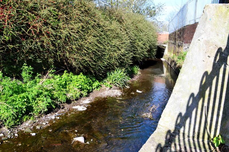 The River Bourn flows past Stirchley Park then under the Co-op car park