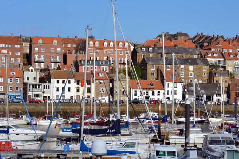 Whitby harbour and houses