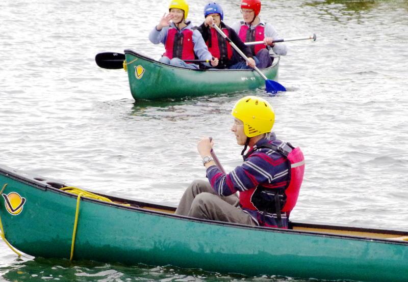 Phil in a canoe