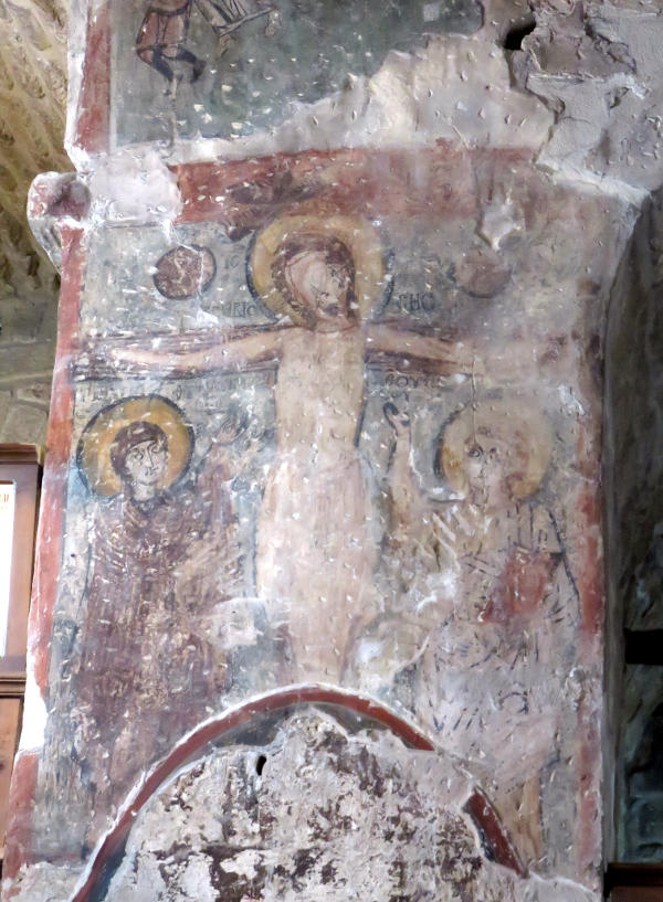 Ancient wall painting in a church at Kellia