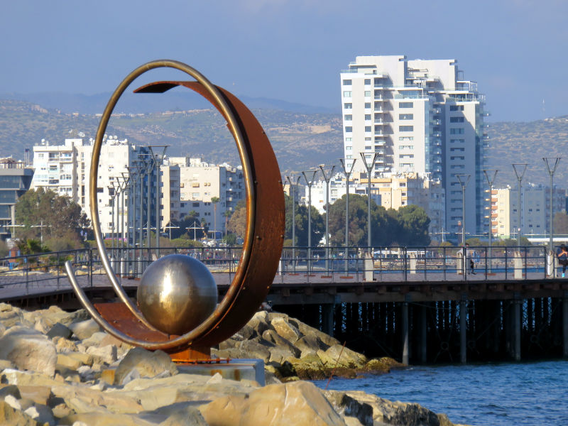 Modern sculpture on the seafront at Limassol