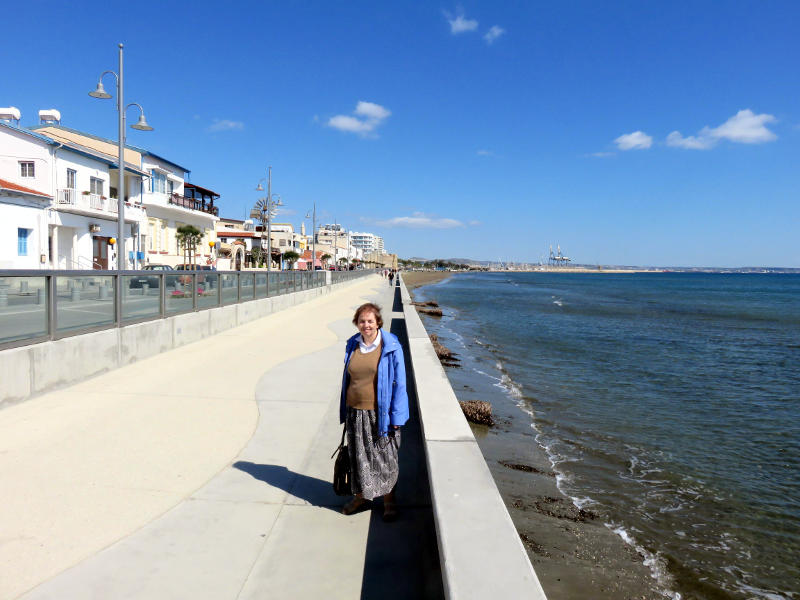 Miriam walking along the seafront at Larnaca