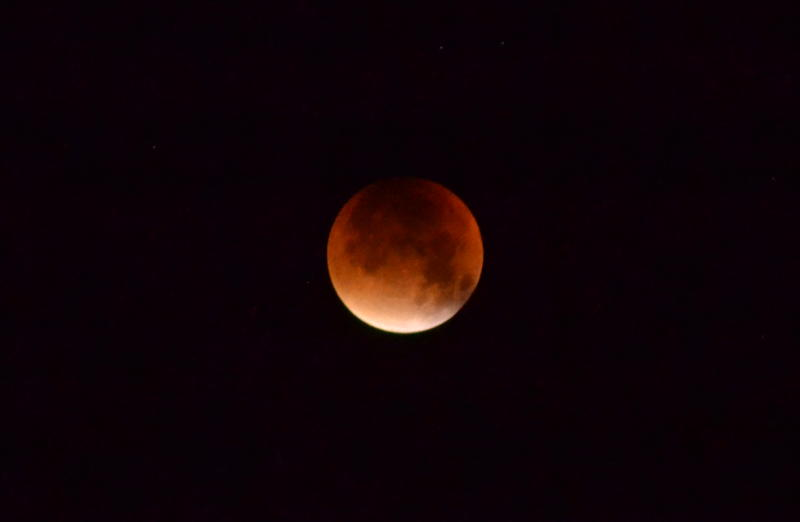 Lunar eclipse approaching totality