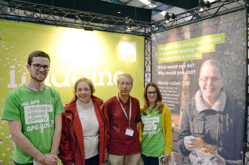Miriam and Phil on the Christians Against Poverty stand at New Wine