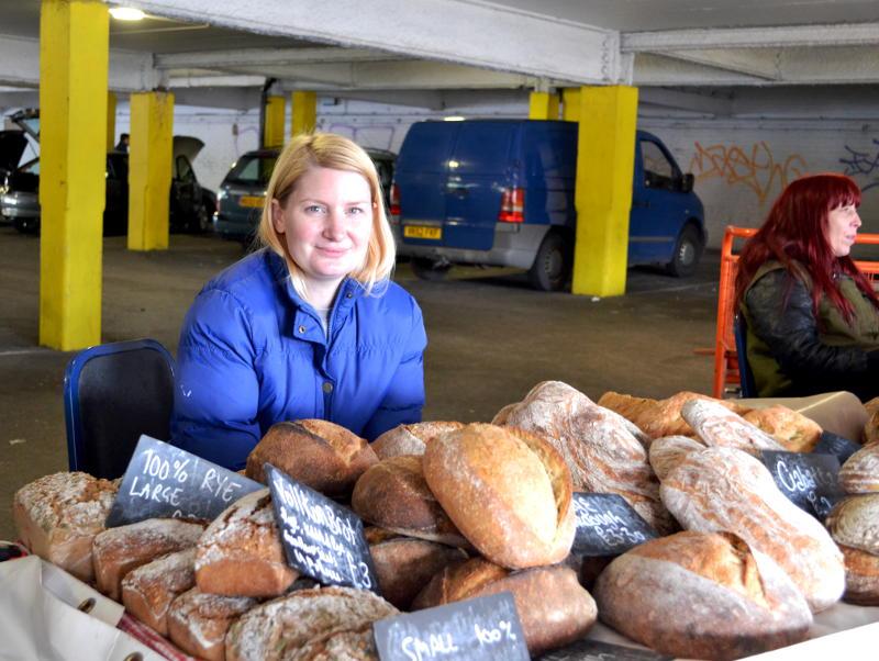 A bread stall in an underground car park