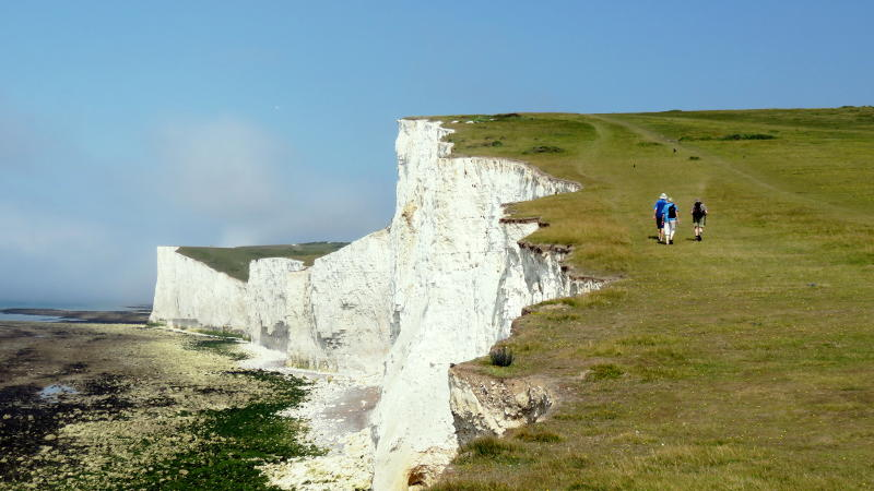 Walking along the Seven Sisters near Eastbourne
