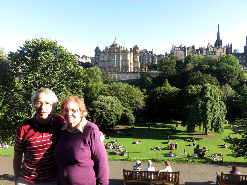 Phil and Miriam with the Edinburgh skyline in the background