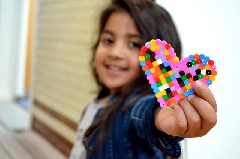 Hama beads in the shape of a heart