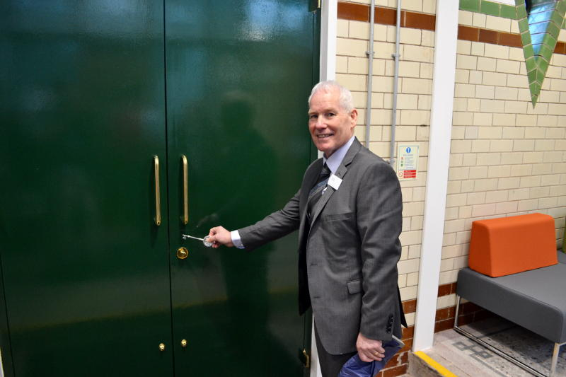 Paul Jones at the front door with the new ceremonial key