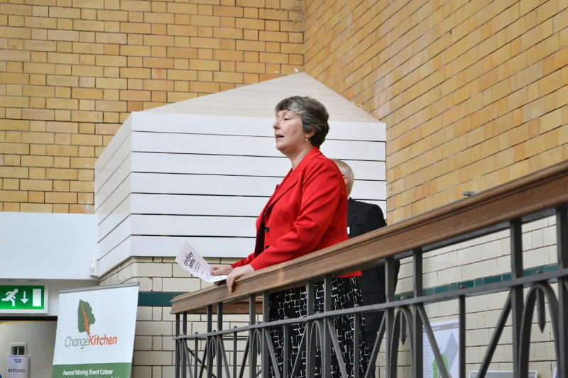 Councillor Karen McCarthy speaking on the stage