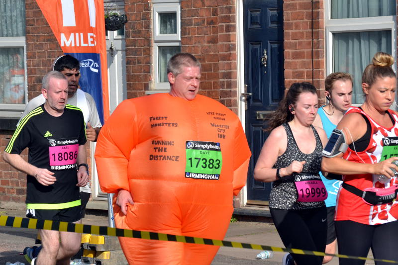 Runner wearing an inflatable costume