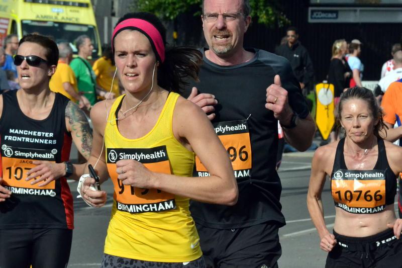 Runners sweating in the sun