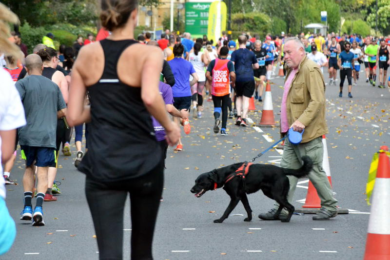 A man with a dog crossing a road full of runners
