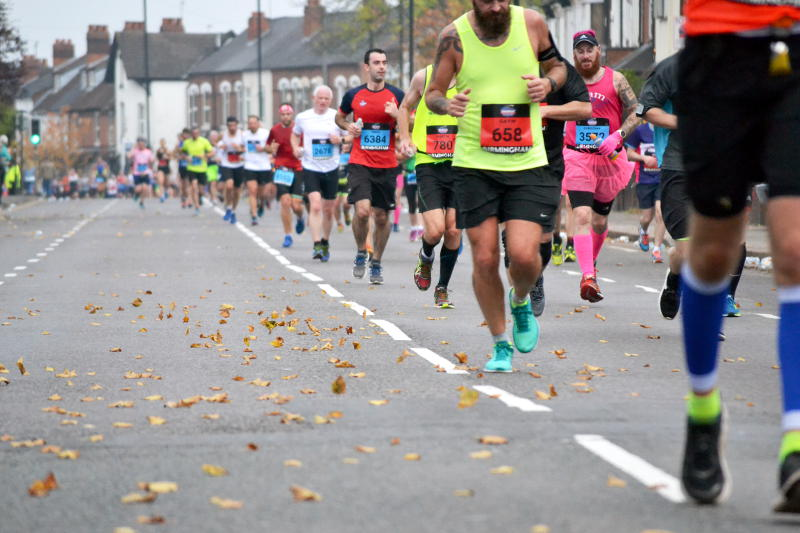 Runners and swirling leaves