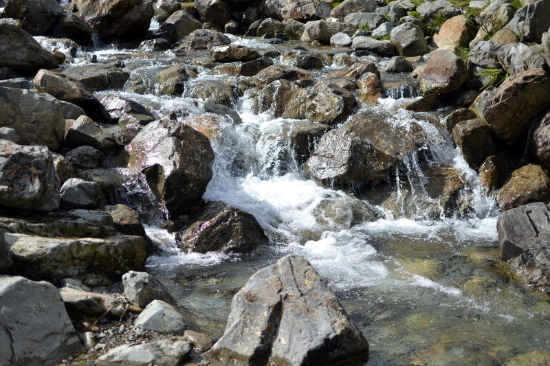 A fast-flowing stream over rocks
