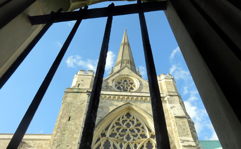 Spire of Chichester Cathedral viewed from the cloister