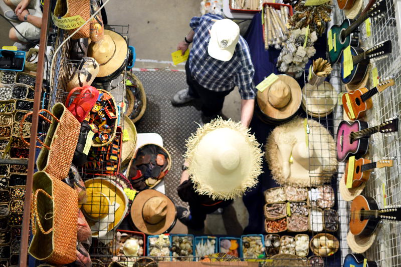 Looking down on a hat stall