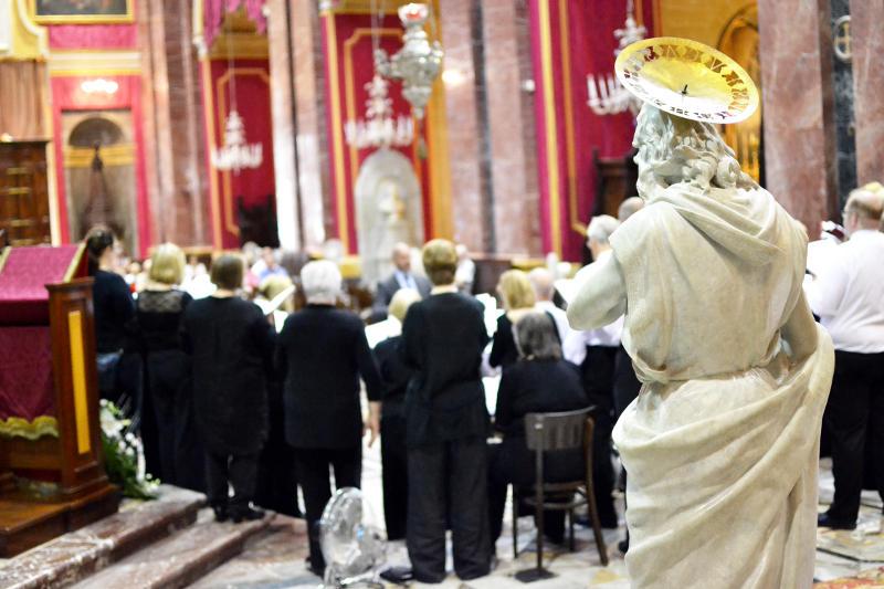 A statue overlooking the choir