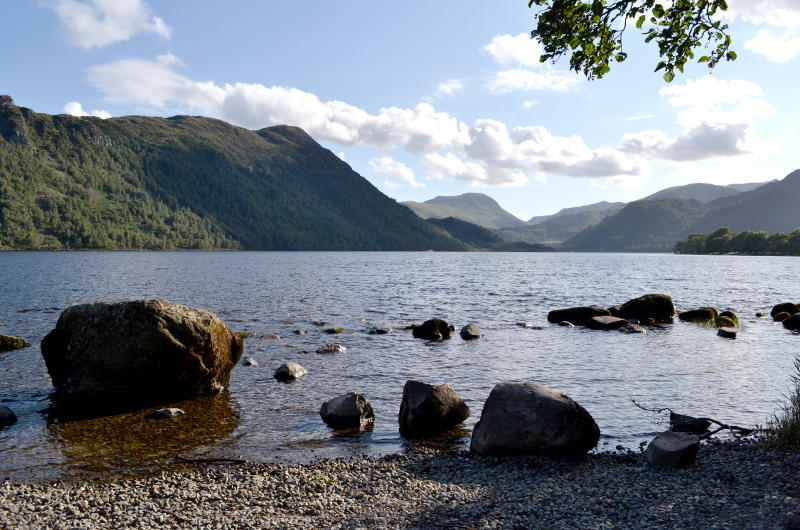 Ullswater, with rocks in the foreground