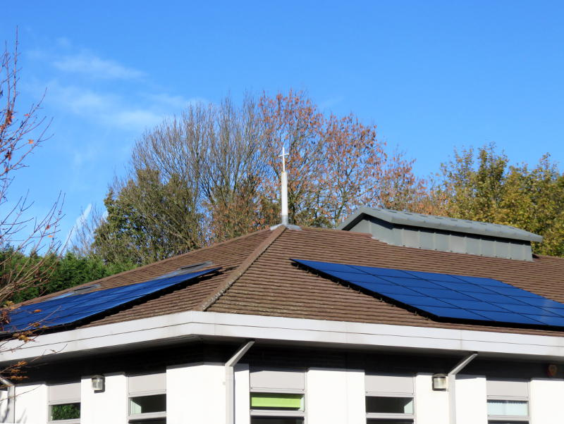 Solar panels on the roof of the Christ Church building