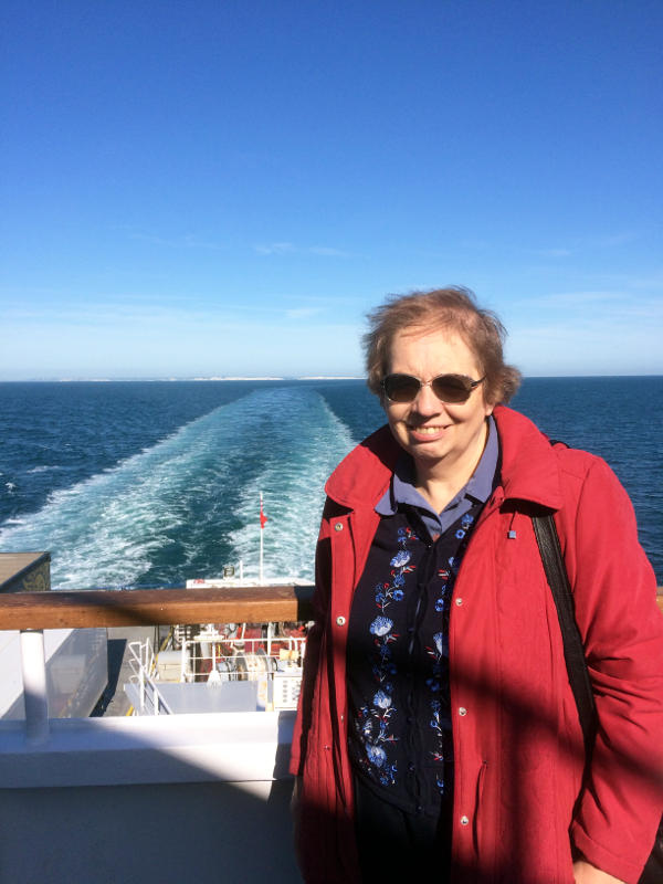 Miriam on the ferry from Dover to Dunkerque
