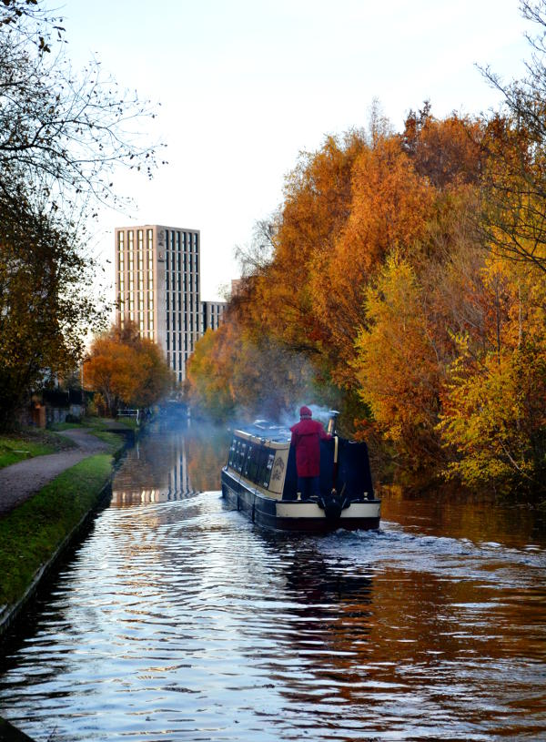 A canal boat passing by autumn trees