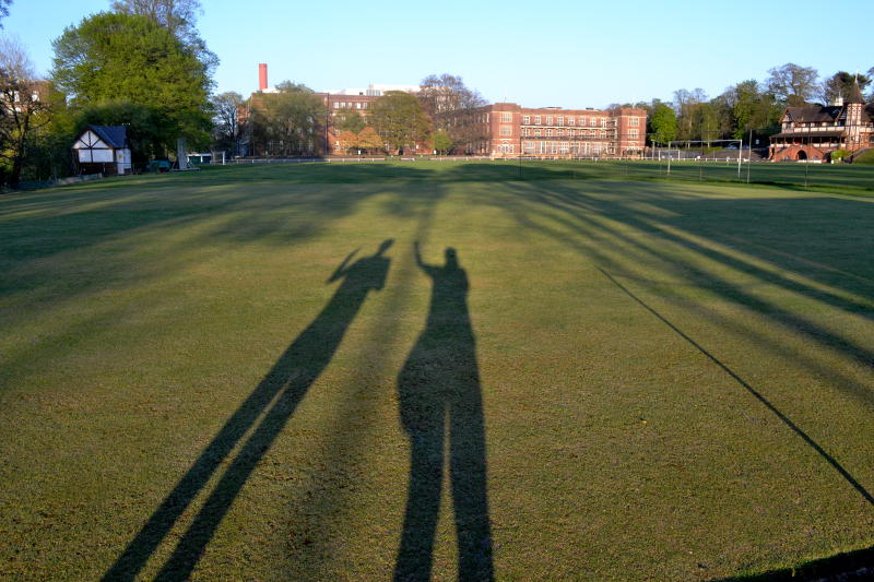 Two long human shadows in evening sunshine