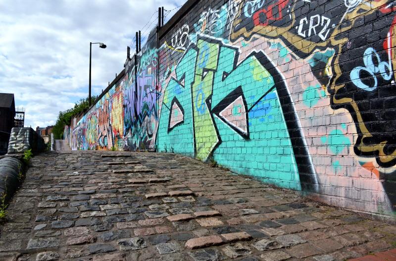 Street art alongside the Digbeth canal