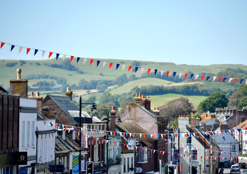 View over the rooftops of Bridport