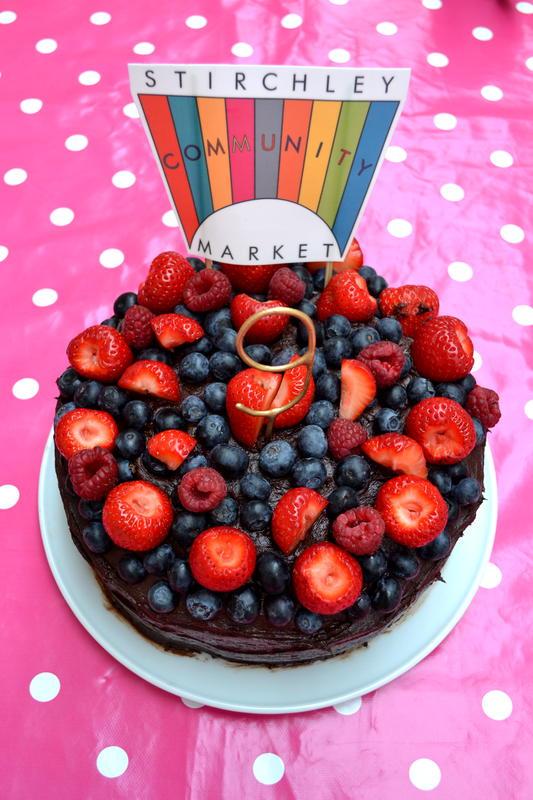 Fruit-topped birthday cake for Stirchley Community Market