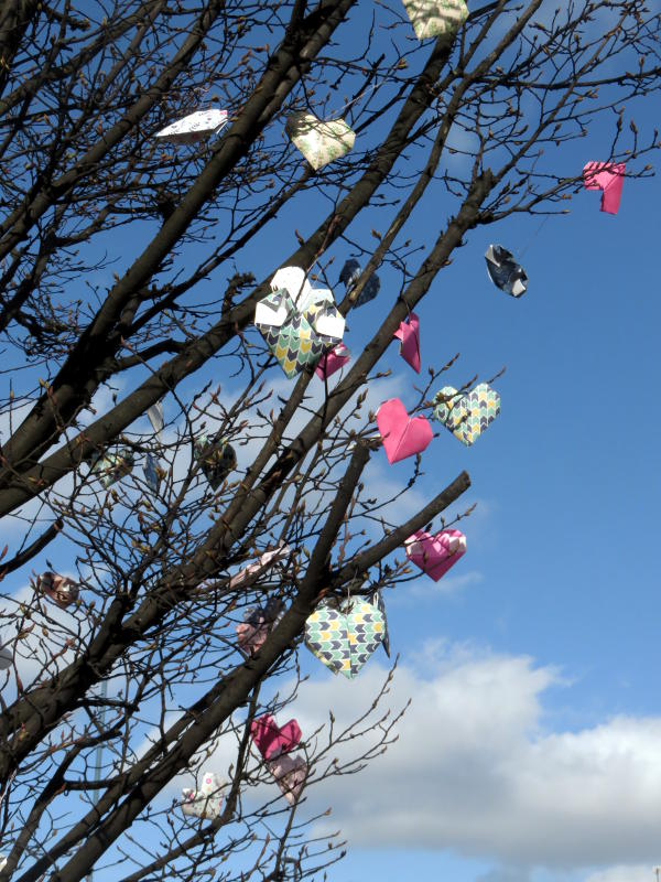 Origami hearts brighten up a barren tree for Valentine's Day