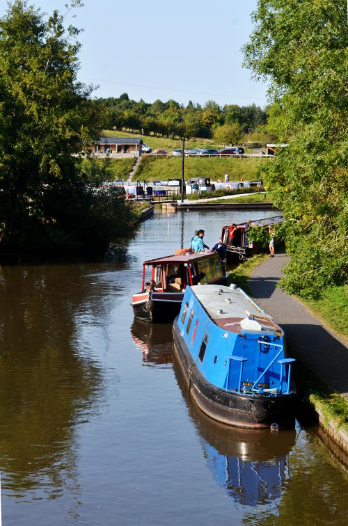 Boats moored along a canal
