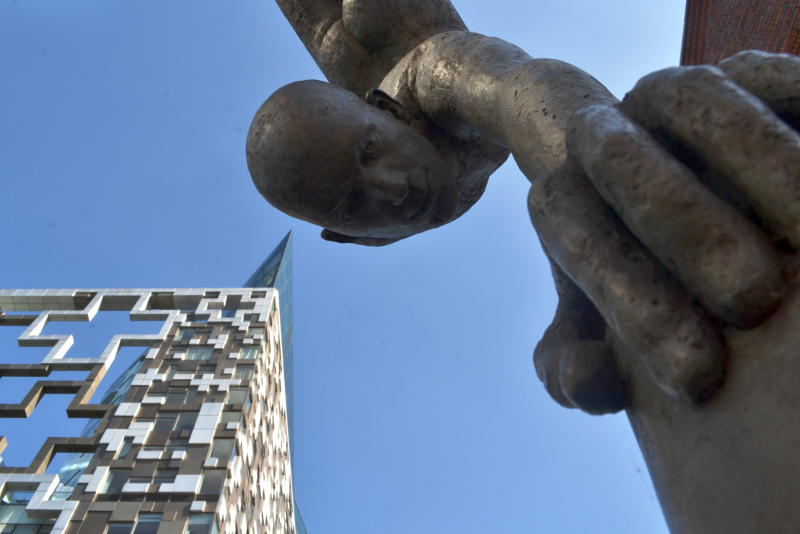 Looking up at sculpture and the Cube