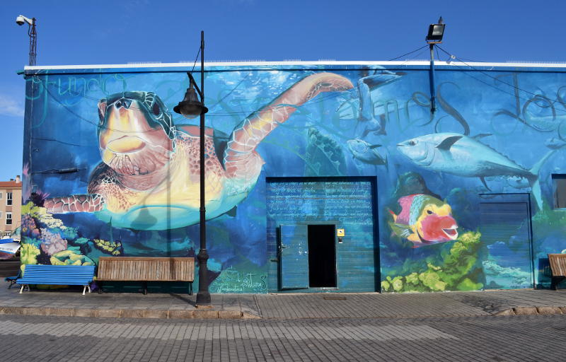 Mural featuring sea creatures on the front of a building